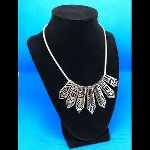 Western Aztec Style Silvertone Necklace